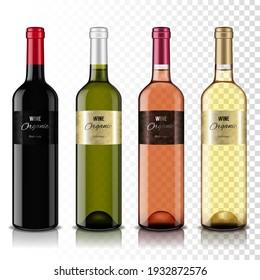 Set of transparent wine bottles, isolated.
