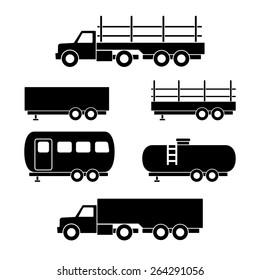 Set of transport black icons. Vector illustration