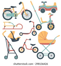 Set of transport for children: baby carriage, pushchair, car seat, baby car, bicycle, kick scooter,  balance-bike, sled.
