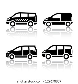 Set of transport icons - Cargo van, vector illustration on a white background