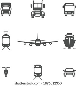 Set of transport icons in front view. Vector file