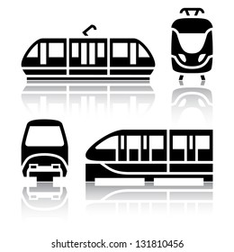 Set of transport icons - Monorail and Tram, vector illustration