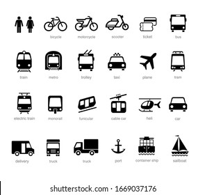 Set transport icons on white background. Vector elements. Can use for your design, interface, website, infographic and etc. Prepared for use in any size on different devices. EPS10.