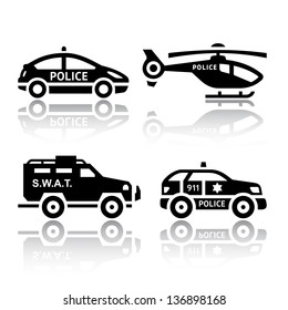 Set of transport icons - Police part 2, vector illustrations, set silhouettes isolated on white background.