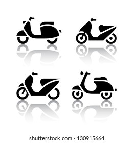 Set of transport icons - scooter and moped, vector illustration
