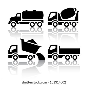 Set of transport icons - Tipper and Concrete mixer truck, vector illustration