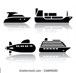 Set of transport icons - Water transport, vector illustrations, set silhouettes isolated on white background.