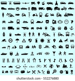 Set of transport and road sign icon and button black vector