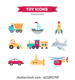 Set of transport toys icon. Vector illustration