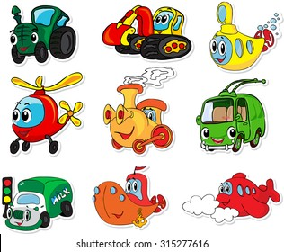 Set of transport: tractor, excavator, submarine, helicopter, train, trolleybus, lorry, ship and aircraft. Vector illustration for kids