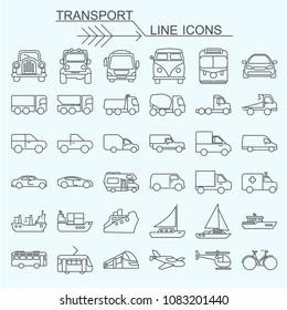 Set  transport vector line icons editable stroke