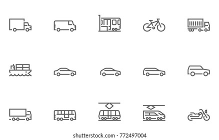 Set of Transport Vector Line Icons with Train, Tram, Bike, Bus, Car and more. Editable Stroke. 48x48 Pixel Perfect.