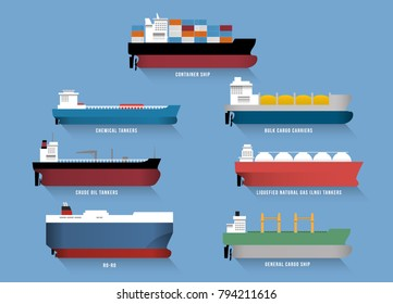 Set of transportation cargo ships, including container ship,  chemical tankers,  bulk cargo carriers, crude oil tankers, liquefied natural gas (LNG) tankers, ro-ro ship and general cargo ship.