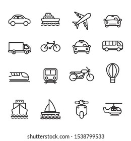 Set of transportation icon with simple line design isolated on white background