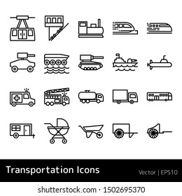 Set Of Transportation Icons isolated on white background