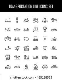 Set of transportation icons in modern thin line style. High quality black outline logistics icons for web site design and mobile apps. Simple linear transportation pictograms on a white background.