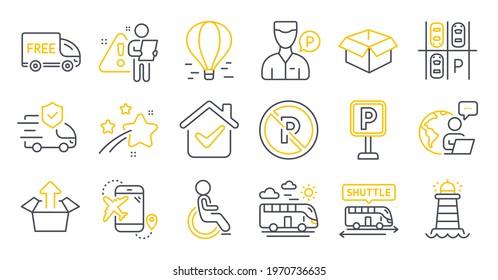 Set of Transportation icons, such as Opened box, Lighthouse, Send box symbols. Air balloon, Parking place, Disabled signs. Bus travel, Free delivery, Flight destination. Shuttle bus. Vector