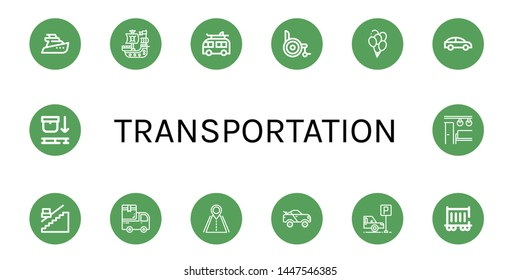 Set of transportation icons such as Yatch, Pirate ship, Camper, Wheelchair, Balloons, Car, Stair, Van, Road, Racing car, Parking, Railway carriage, Use pallet , transportation