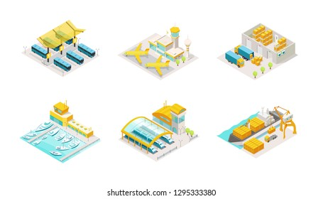 Set of transportation isometric. Bus station, airplane airport, delivery service warehouse and truck. Shipping by sea boat and containers on a barge, train station logistic.