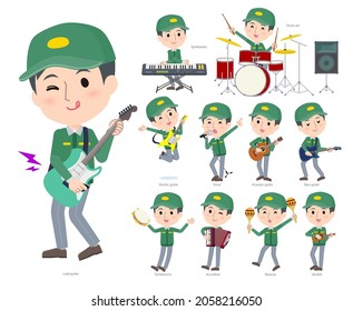 A set of Transportman man playing rock 'n' roll and pop music.It's vector art so easy to edit.