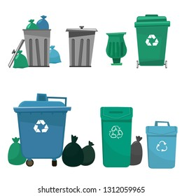 A set of trash cans of different shapes and sizes. Blue, gray and green trash cans with icons isolated on white background