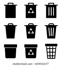 Set of trash icon with flat style icon for web site design, logo, app, UI isolated on white background. vector illustration