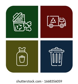 Set of trashcan icons. Such as Recycle bin, Garbage, Rubbish, Trash , trashcan icons