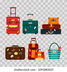 Set travel bags on transparent background vector illustration. Collection business voyage packing, handle trip baggage. Summer time. Handbag and luggage for adventure