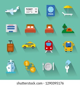 set of travel concept flat icons of resort, cruise and transport