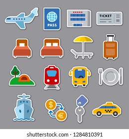 set of travel concept flat stickers of resort, cruise and transport