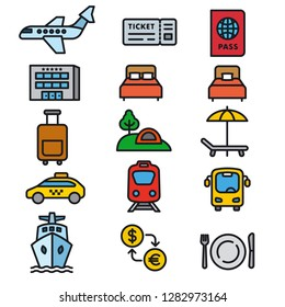 set of travel concept icons of resort, cruise and transport