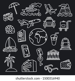 set of travel concept icons for resort, cruise, tourism and journey