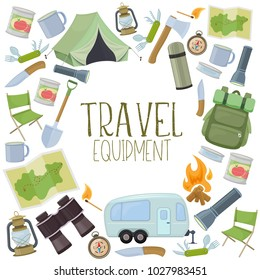 Set of travel equipment. Accessories for camping and camps. Colorful cartoon illustration of camping and tourism equipment. Vector