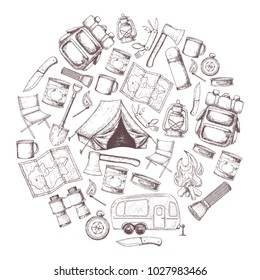 Set of travel equipment. Accessories for camping and camps. Sketch illustration of camping and tourism equipment. Vector