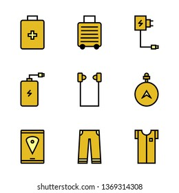 Set Travel, Equipment, Powerbank, Suitcases, Clothing, Maps Filled Outline Style Icon Vector - Vector