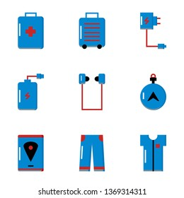 Set Travel, Equipment, Powerbank, Suitcases, Clothing, Maps Flat Style Icon Vector - Vector