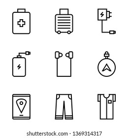 Set Travel, Equipment, Powerbank, Suitcases, Clothing, Maps Outline Style Icon Vector - Vector