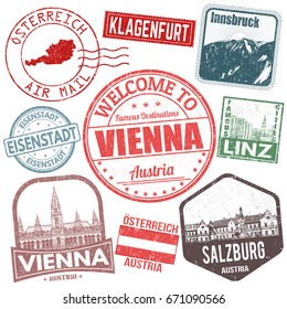 Set of travel grunge stamps with Austria on white background, vector illustration