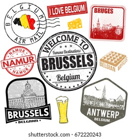 Set of travel grunge stamps with Belgium on white background, vector illustration