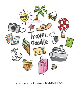 set of travel icon in doodle style
