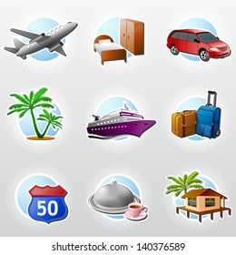 Set of travel icons. Collection of colored icons for tourism and vacation. Qualitative vector (EPS-10) symbols about travel, tourism, vacation, trip, booking, etc