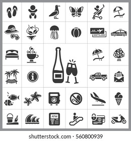 Set of Travel Icons. Contains such Icons as Wave, Plane, Medusa, Ticket, Beach Ball, Ice-Cream, Car, Beach Umbrella and more. Editable Vector. Pixel Perfect.