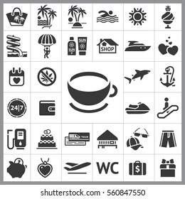 Set of Travel Icons. Contains such Icons as Jetsky, Gas, Wallet, Cap and Sunglasses, Anchor, Shark, Gift, Heart and more. Editable Vector. Pixel Perfect.