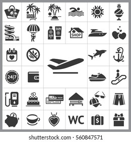 Set of Travel Icons. Contains such Icons as Jet ski, Gas, Wallet, Cap and Sunglasses, Anchor, Shark, Gift, Heart and more. Editable Vector. Pixel Perfect.