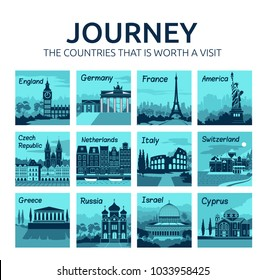 Set of travel icons with different countries of world. Travel and tourism. Journey. Countries that is worth visit