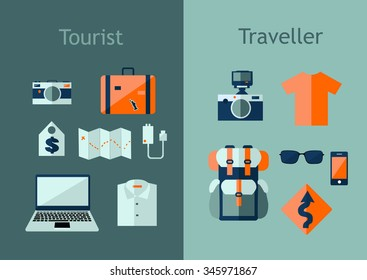 Set of travel icons in flat style. Travel plan concept. Vector illustration with design elements and symbols: backpack, map, camera, laptop.