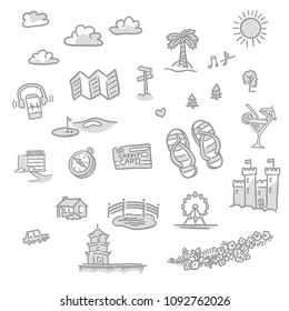Set of travel icons, hand-drawn vector sketches in two tones