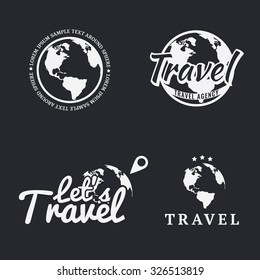 Set of travel icons, logos, emblems, labels, badges and design templates with monochrome earth map. Vector.