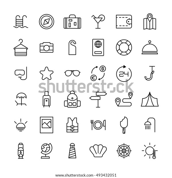 Set of travel icons in modern thin line style. High quality black camping animal symbols for web site design and mobile apps. Simple linear wild summer pictograms on a white background.