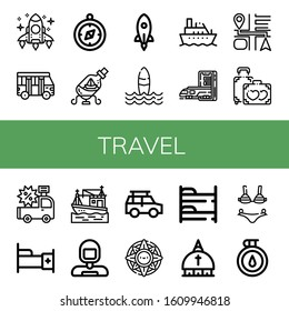 Set of travel icons. Such as Rocket, School bus, Compass, Ship in a bottle, Surf, Boat, Subway, Navigation, Honeymoon, Car, Bed, Astronaut, Off road, Windrose, Bunk bed , travel icons